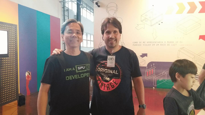 Fukuda e André Sarmento no Arduino Day 2017.