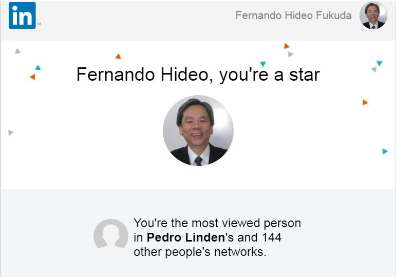 """O Prof. Dr. Eng. Fernando Hideo Fukuda, CEO na Fukuda Solutions, Coordenador do Curso de Engenharia da Computação e do Curso de Ciência da Computação e Professor no Campus Tijuca da UVA, teve a satisfação em receber a mensagem de congratulação """"Most Viewed Person in 145 people's networks"""" do LinkedIn."""