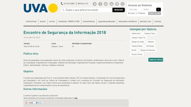 Encontro de Segurança em Redes Sociais 2018