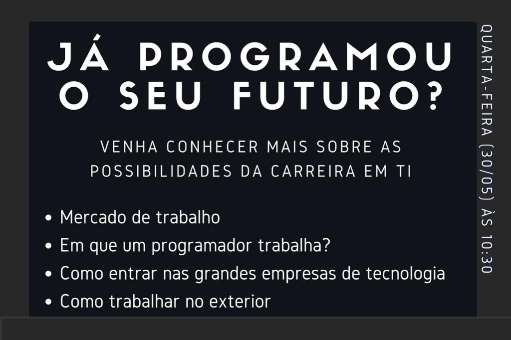 """O Prof. Dr. Eng. Fernando Hideo Fukuda, CEO na Fukuda Solutions, Coordenador do Curso de Engenharia da Computação e doCurso de Ciência da Computação e Professor no Campus Tijuca da UVA, organizou o Evento """"Já Programou o seu Futuro?"""" sobrePerspectivas de Carreiras em Computação no Brasil e no Exterior, a ser realizado no Lab Ideias (no segundo andar do bloco A em frente à Praça do Chafariz e com entrada ao lado da sala A201) no dia 30/05/2018 de 10:30 às 12:30 noCampus Tijuca da UVA, localizado na Rua Ibituruna 108, Maracanã, RJ."""