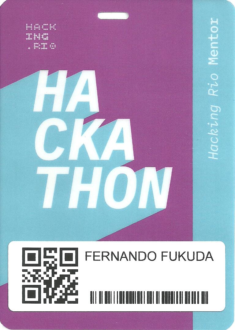 O Prof. Dr. Eng. Fernando Hideo Fukuda, CEO na Fukuda Solutions, Coordenador do Curso de Engenharia da Computação e doCurso de Ciência da Computação e Professor no Campus Tijuca da UVA, é Mentor de 3 Times no Rio Hackathon do Hacking.Rio, convidado pelaLindalia Sofia Junqueira Reis, Head do Hacking.Rio, CEO da Ions Consultoria, Investidora da Gávea Angels, Co-Fundadora do Juntospelo.Rio.